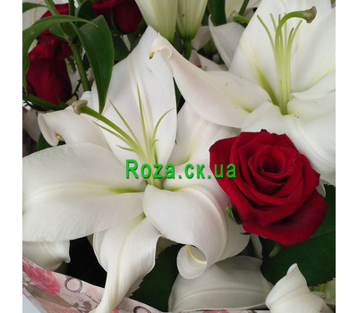 """""""Великий букет із лілій і троянд - вид 3"""" в интернет-магазине цветов roza.ck.ua"""