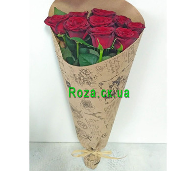 """Bouquet of red roses in a paper 1"" in the online flower shop roza.ck.ua"