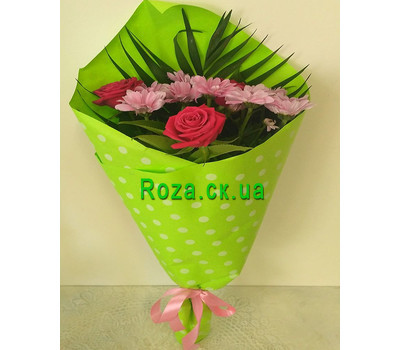 """Mini bouquet of roses and chrysanthemums 1"" in the online flower shop roza.ck.ua"