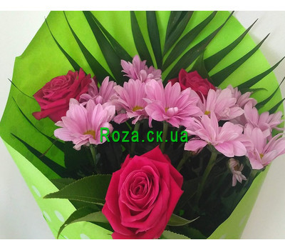 """Mini bouquet of roses and chrysanthemums 2"" in the online flower shop roza.ck.ua"
