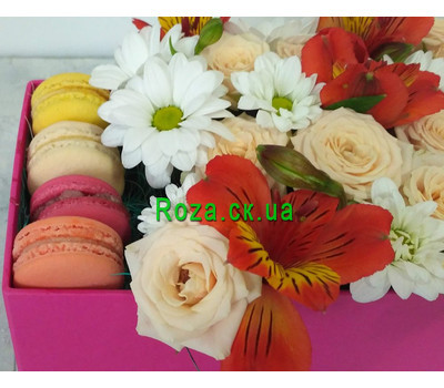 """Delicate Flowers and Macarons 3"" in the online flower shop roza.ck.ua"
