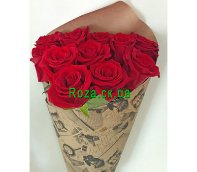 """Wonderful bouquet of 11 red roses 3"" in the online flower shop roza.ck.ua"
