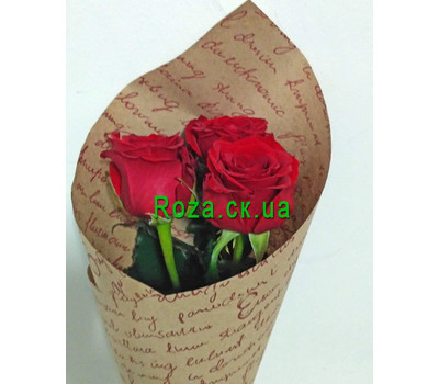 """3 red roses 4"" in the online flower shop roza.ck.ua"