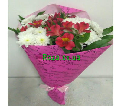 """Charming bouquet of chrysanthemums and alstromeries 1"" in the online flower shop roza.ck.ua"