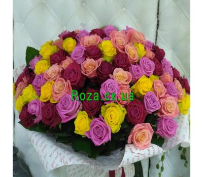 """""""Яскравий букет із 101 різнокольорової троянди - вид 2"""" в интернет-магазине цветов roza.ck.ua"""