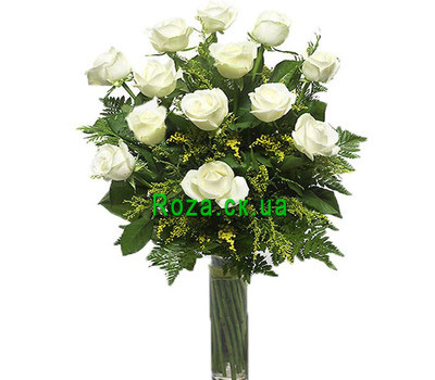 """Bouquet of white roses"" in the online flower shop roza.ck.ua"