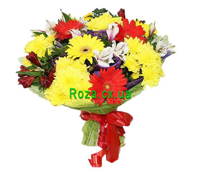 """Bouquet of roses, gerberas and alstroemerias"" in the online flower shop roza.ck.ua"