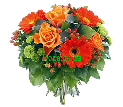 """""""Оранжево-зеленый букет цветов"""" в интернет-магазине цветов roza.ck.ua"""