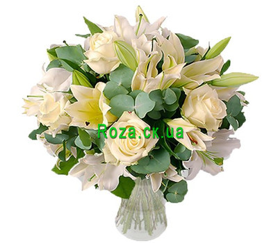 """A snow-white bouquet of roses and lilies"" in the online flower shop roza.ck.ua"