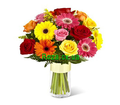 """Bright bouquet of roses and gerberas"" in the online flower shop roza.ck.ua"