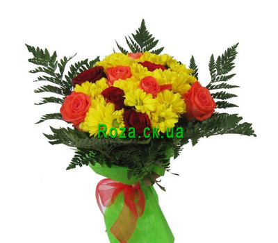 """Yellow-orange bouquet of flowers"" in the online flower shop roza.ck.ua"